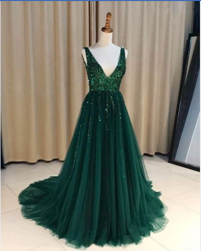v-neck green tulle long sparkle charming prom dress, PD447