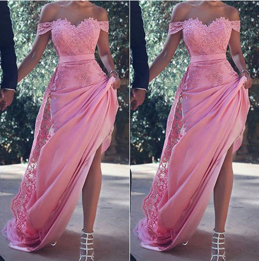 cheap lace off shoulder pink long prom dress, PD9776