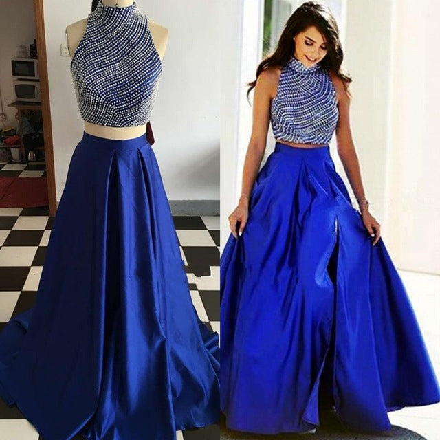 two pieces royal blue beaded top side slit long prom dress, PD8880