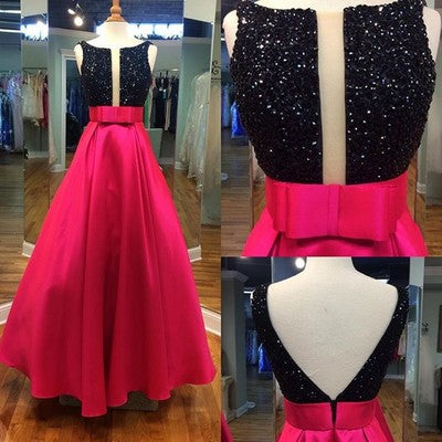 red A-line satin black beading top long prom dress, PD12540