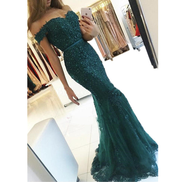 charming elegant lace beaded off shoulder mermaid long prom dress, PD1372