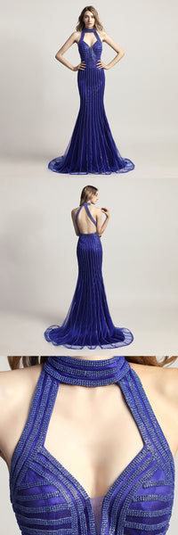 Royal Blue Beaded Long Prom Dresses Mermaid Evening Dresses Backless Formal Dresses