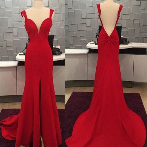 simple red backless chiffon slit cheap long prom dress, PD9881