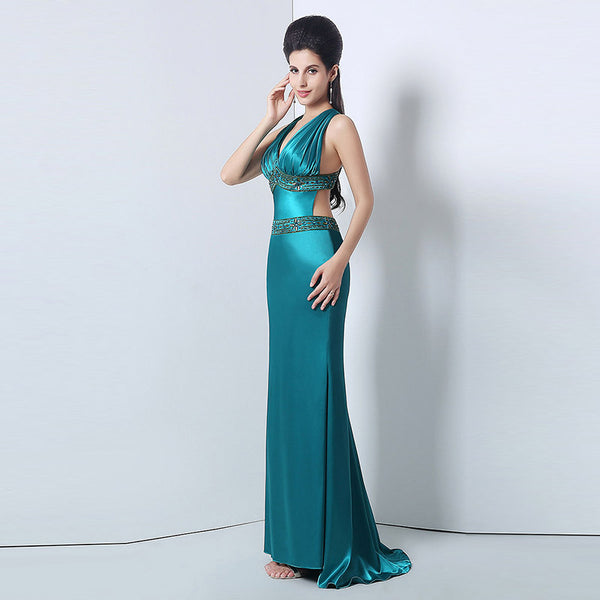 Stylish V-Neck Long Prom Dresses Beaded Mermaid Evening Dresses Backless Formal Dresses