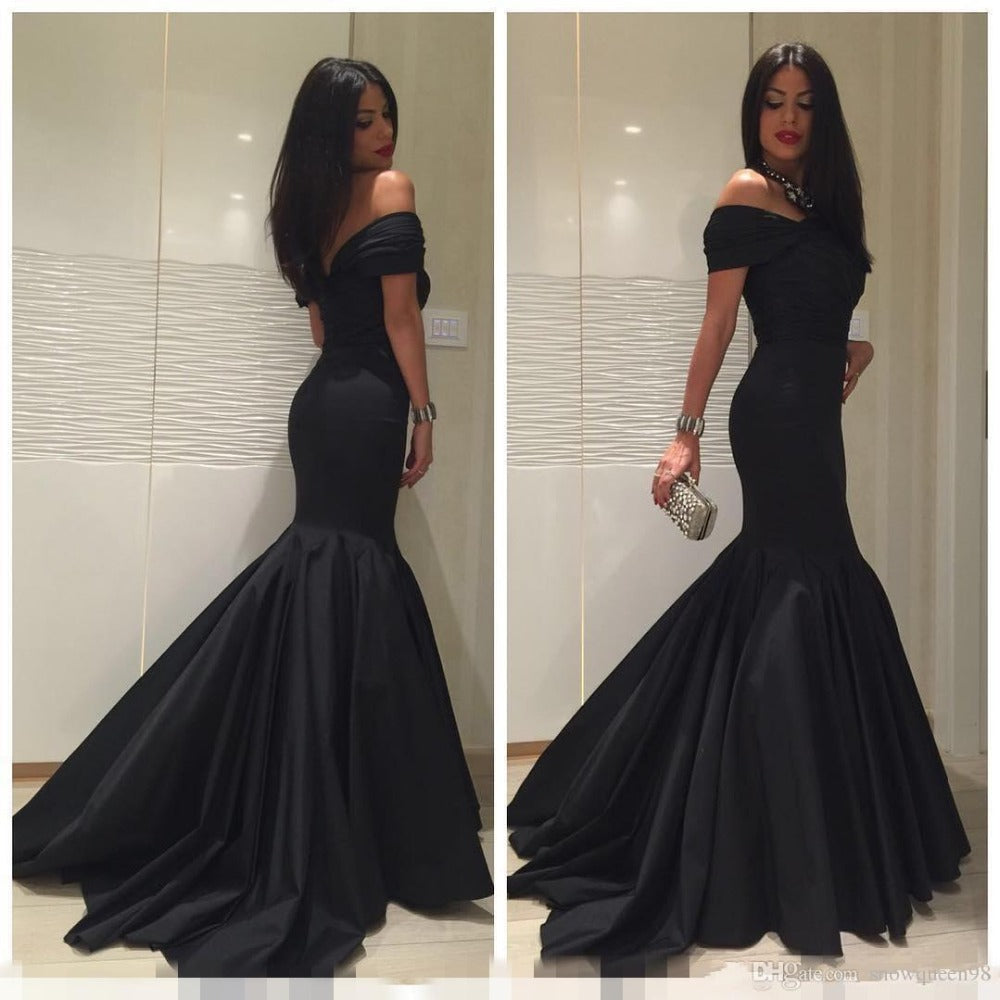 formal elegant off shoulder mermaid long black evening dress, BD6448