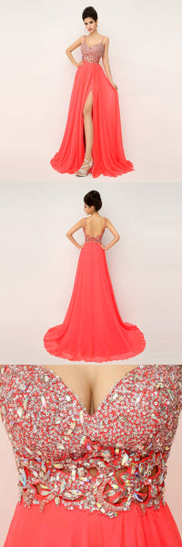 Sexy Beaded Long Prom Dresses Backless Spaghetti Straps Evening Dresses A-Line Formal Dresses