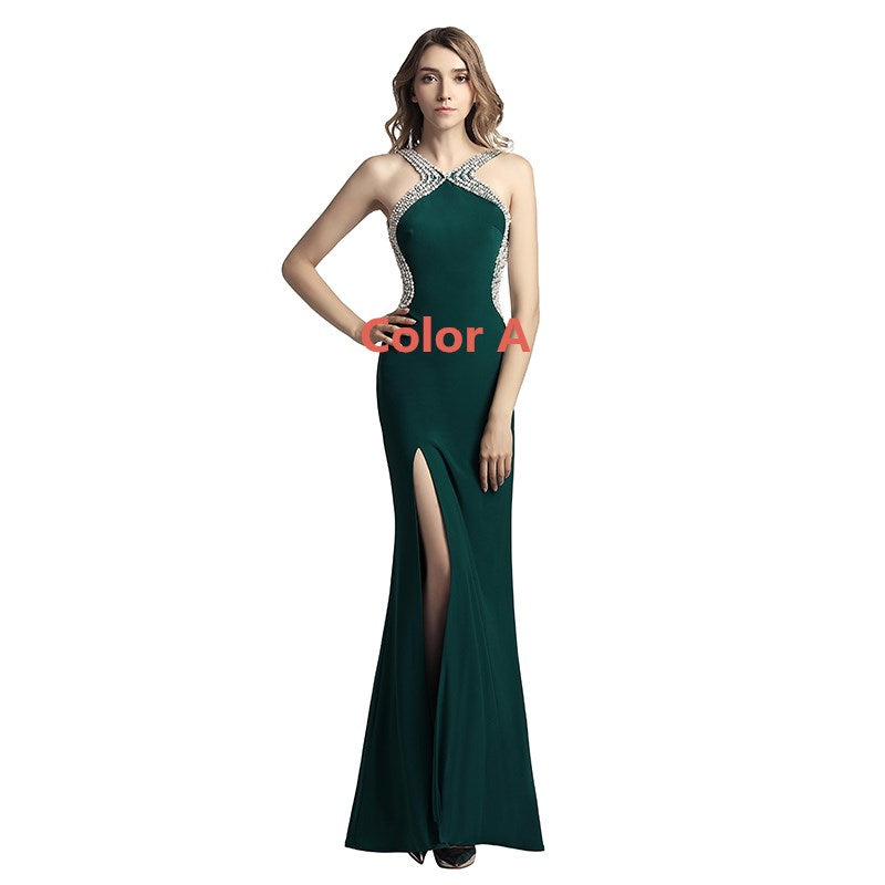Sexy Beaded Long Prom Dresses Pearls Mermaid Evening Dresses Backless Sleeveless Formal Dresses with High Slit
