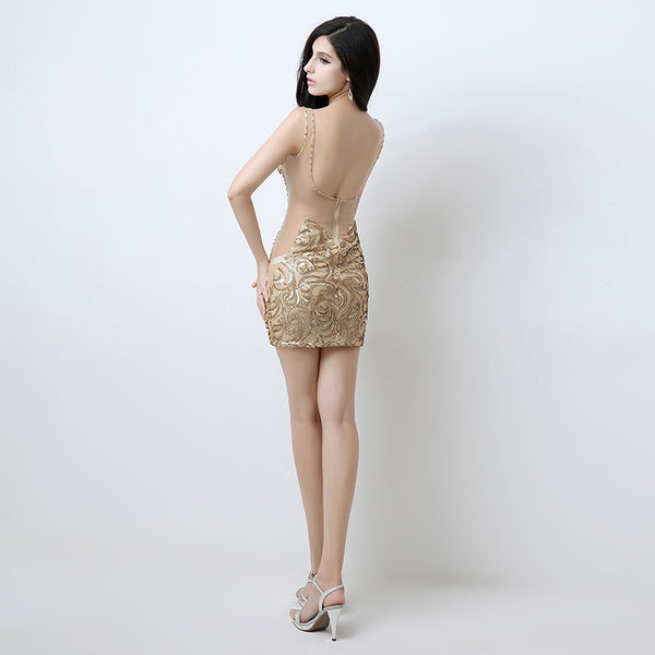 Sexy Sequins Short Prom Dresses Tight Body Evening Dresses Backless Spaghetti Straps Formal Dresses