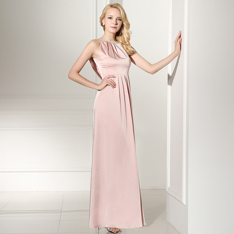 Simple Pink Long Prom Dresses Backless Evening Dresses A-Line Formal Dresses