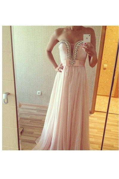 blush pink prom dress, long prom dress, chiffon prom dress, strapless prom dress, cheap evening dress, BD43