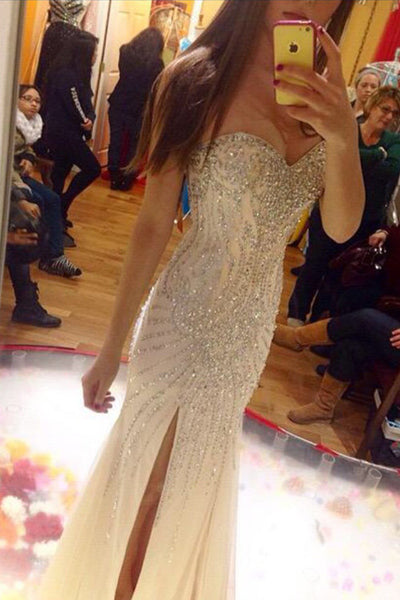 beaded prom dress, long prom dress, side slit prom dress, gorgeous prom dress, charming evening gown, BD46