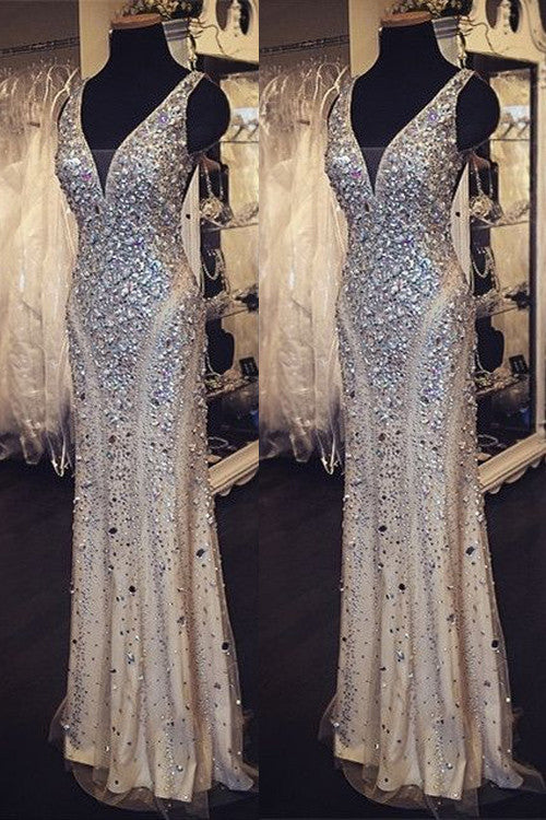 beaded prom dress, long prom dress, v-neck prom dress, charming prom dress, sheath evening dress, BD42