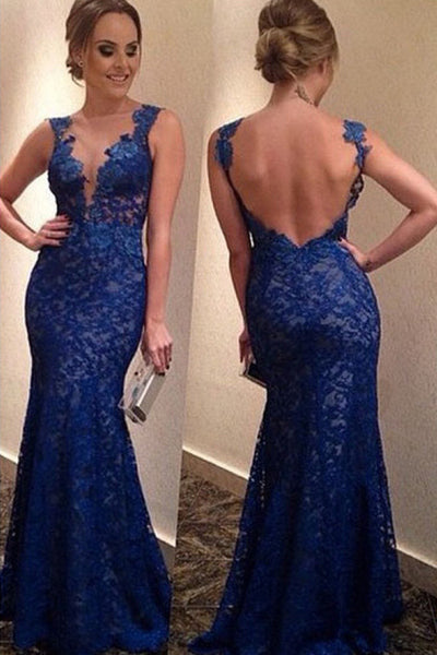royal blue prom dress, long prom dress, mermaid prom dress, lace prom dress, charming evening dress, BD44