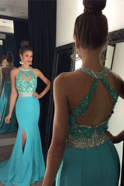 blue prom dress, long prom dress,charming prom dress, mermaid prom dress, side slit evening dress, BD83