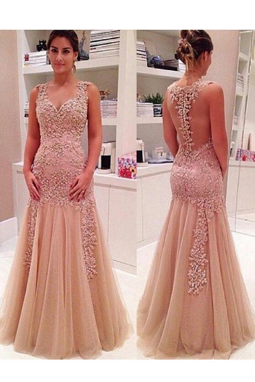 rose pink prom dress, mermaid prom dress, long prom dress, charming prom dress, applique evening gown, BD78