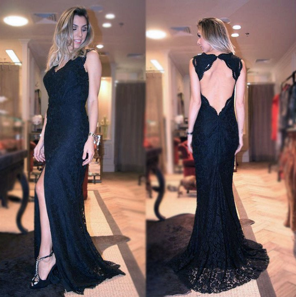 black lace open back side slit mermaid long prom dress, PD9666
