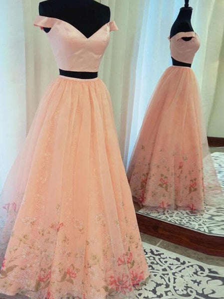 blush pink off shoulder two pieces long tulle fluffy floral prom dress, PD5846