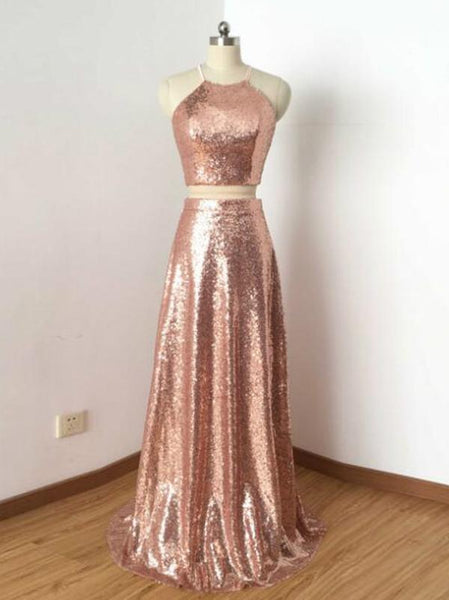 sparkle two pieces rose gold sequin long prom dress 2018, PD12125