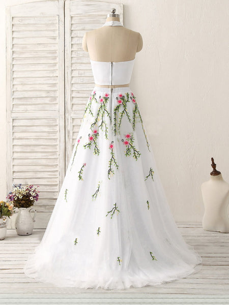 white two pieces halter fluffy tulle floral prom dress, PD5847