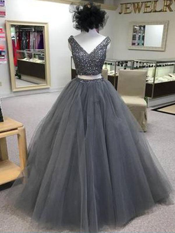 two pieces prom dress, gray prom dress, 2018 prom dress, long prom dress, charming prom gown, BD5621