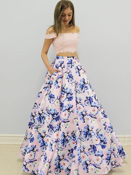 off shoulder two pieces floral long prom dress 2018 ball gown, PD6587
