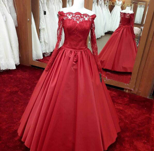 50b9e476b589 Long sleeves red A-line long off shoulder lace top prom dress