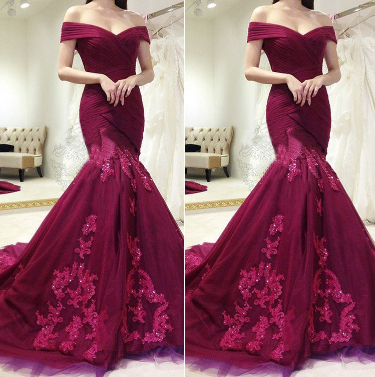 charming lace appliques burgundy off shoulder mermaid formal long prom dress, PD9682