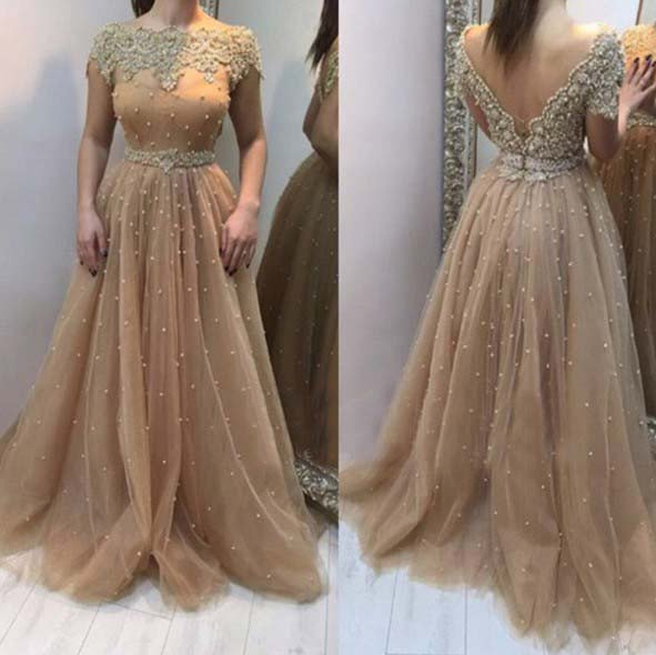 short sleeves beaded charming A-line tulle long prom dress, PD9665