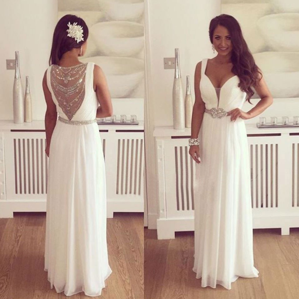 elegant beaded white chiffon long 2017 prom dress, PD3842