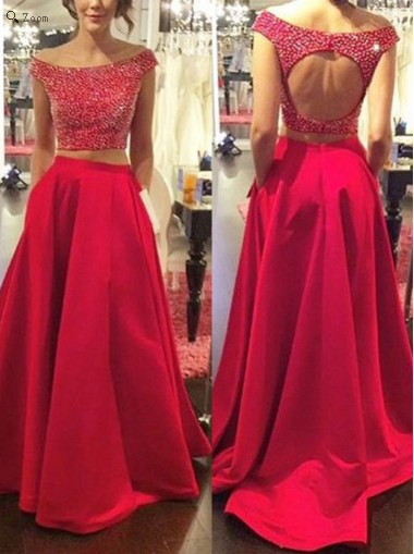two pieces prom dress,long prom dress,red prom dress,beaded prom dress,open back prom dress, BD532