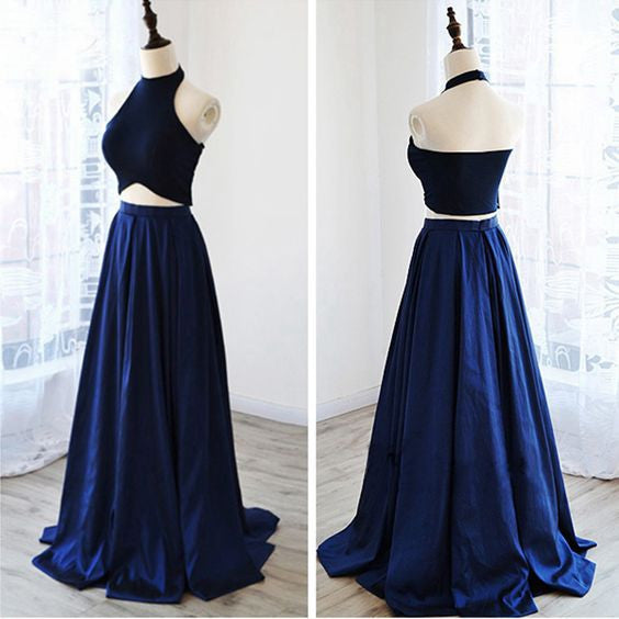 two pieces prom dress, long prom dress, blue prom dress, fashion halter evening dress, 2017 prom dress, BD404