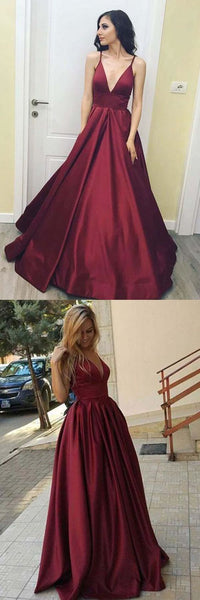v-neck burgundy simple satin long prom dress, PD6877