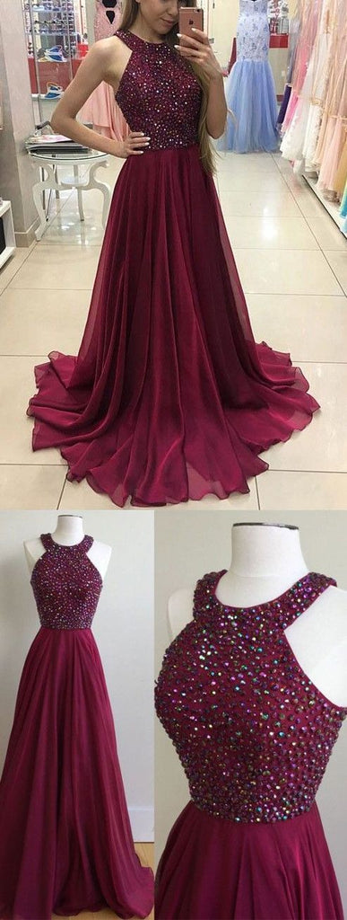 burgundy prom dress, long prom dress, beaded prom dress, chiffon prom dress, cheap evening dress, BD25636