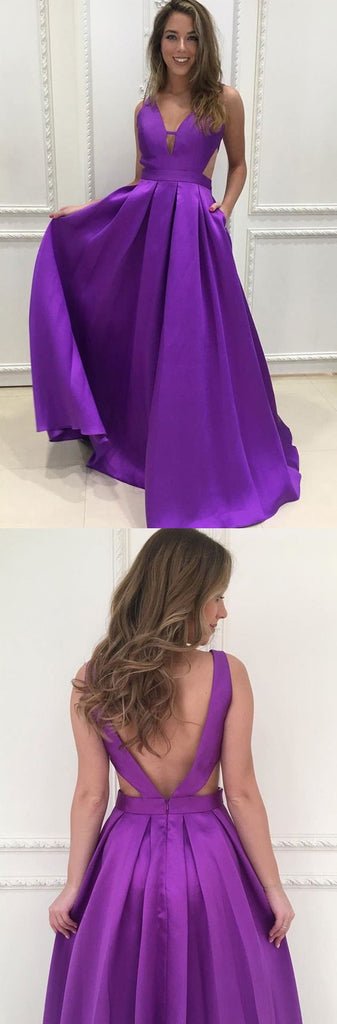 Purple satin simple cheap 2018 new formal long prom dress, PD12121