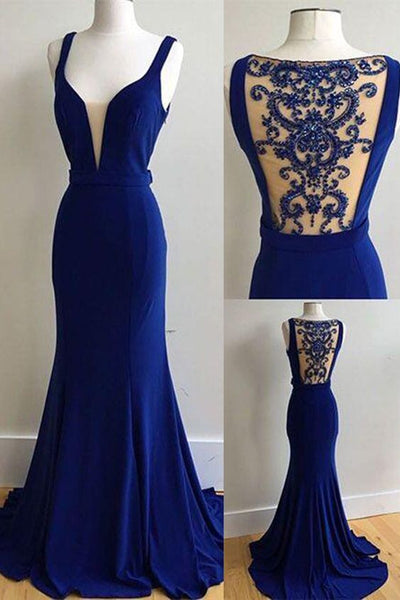 royal blue prom dress, long prom dress, formal prom dress, mermaid evening dress, 2017 evening dress, BD415