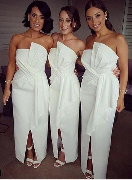 white strapless slit long Bridesmaid Dresses, BD4541