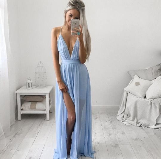 sky blue prom dress, long prom dress, v-neck prom dress, 2017 evening dress, side slit prom dress, BD545