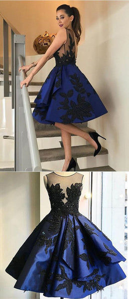 2017 dark royal blue A-line charming short homecoming dress, BD3834
