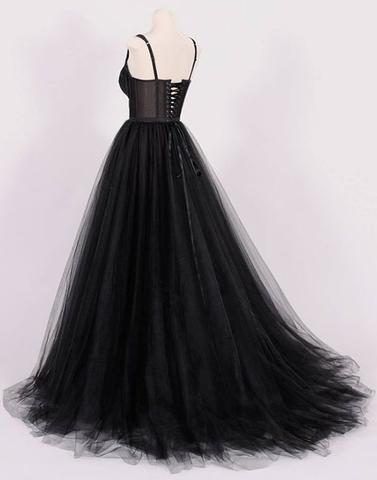formal two straps A-line black long prom dress, PD59614