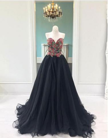 2017 charming black tulle sweetheart A-line long prom dress, PD3322