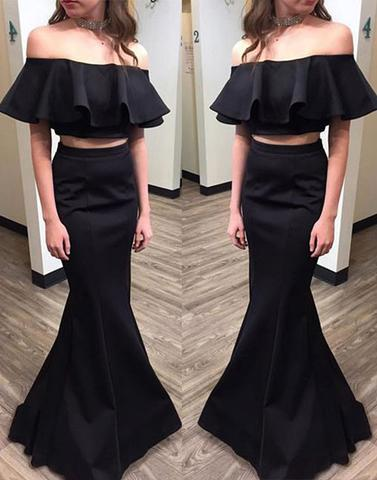 mermaid off shoulder two pieces black formal long prom dress, PD2780