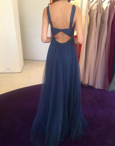 spaghetti straps open back blue chiffon long prom dress, PD6565