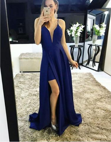 v-neck royal blue chiffon side slit long prom dress, PD14565