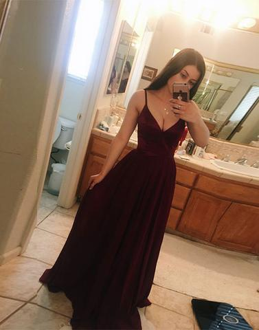 simple burgundy chiffon v-neck long prom dress 662f69f91