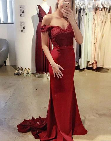 red off shoulder mermaid lace top cheap 2017 Bridesmaid Dresses,BD41657