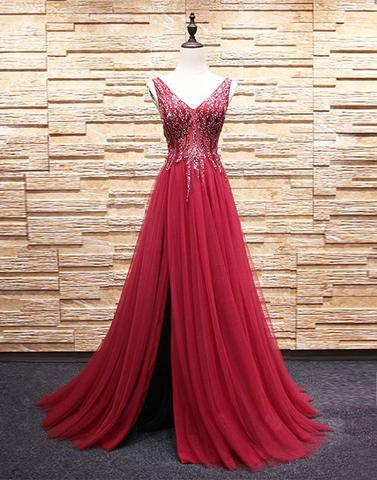formal V-neck side slit long burgundy tulle prom dress, PD59615