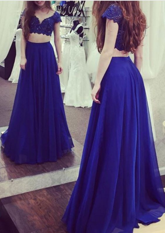 two pieces royal blue short sleeves long prom dress, PD5692