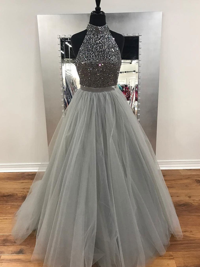 high neck gray tulle beaded top A-line long prom dress, PD8876