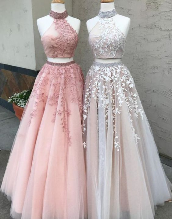 halter two pieces tulle with lace appliques long prom dress, BD749
