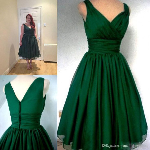 v-neck green homecoming dress, cheap short prom dress, HD577